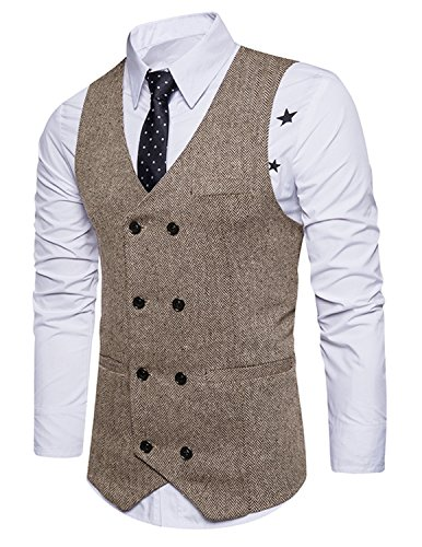 Boom Fashion Herren doppelt breasted Anzugweste Freizeit Business Casual Slim Fit Weste V-Ausschnitt Blazer