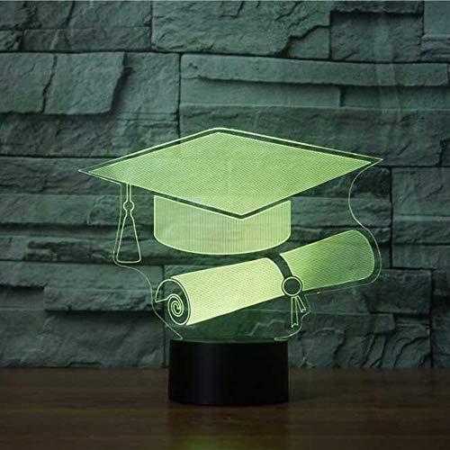 YDBDB Nachtlicht 3D Graduation Cap Usb führte visuelle Hut Tischlampe Kinder Nachttischleuchte Baby Schlaf Beleuchtung Geschenke (Lila Graduation Cap)