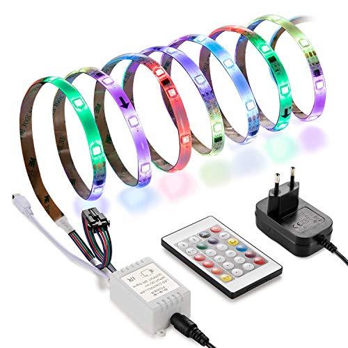 Mehrfarbig LED Stripes, Linkind 5m RGB Streifen Kit mit Fernbedienung,wasserdichtes Lichtband, 8 Farben 164 Lichtprogramme Lichtleisten, flexibles LED Band mit EU Adapter, schneidbar, selbstklebend
