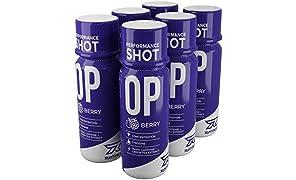 Runtime OP Energy Shot, Performance Boost für Konzentration, Wachheit und Leistung | 154mg Koffein + Tyorisin + Grüntee-Extrakt + Nootropika | 6 x 60ml (Berry)
