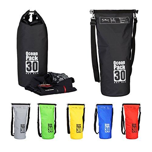 Relaxdays zaino impermeabile ocean pack 30 l borsa stagna idrorepellente per valori dry bag leggera outdoor nero