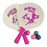 COM-FOUR® Beachballset bestehend aus 2 Schlägern und 4 Gummibällen