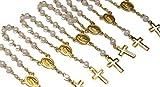 Lot de 24 petits chapelets - Cadeaux pour communion et baptême - Avec des perles - Plaqués or 18 carats - Decenario
