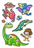 dpr. Fensterbilder Set 7-tlg. für Kinder Dinosaurier Tiere Dino Flugsaurier Blume Schmetterling statisch haftend Fenstersticker Aufkleber Fensterdekoration