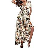 HCFKJ Robe Ete Femme, Femmes Imprimé Manches Courtes Floral Print Flowy Robe SoiréE Sundresses(Blanc, L)