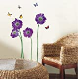 Walplus (TM) Huge Flowers Wall Stickers - Home Decoration ,50cm x 70cm, Transparent, PVC , Removable, Self-Adhesive, Violet
