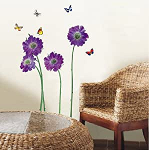Walplus (TM) Huge Flowers Wall Stickers - Home Decoration ,50cm x 70cm, Transparent, PVC , Removable, Self-Adhesive, Violet