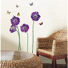 Walplus - Adhesivos de pared, diseño de flores color morado
