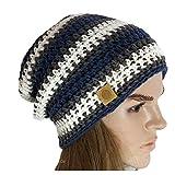 Wooly Woodpecker - Berretto Beanie long uncinetto cappello estivo - berretto da donna e da uomo - colore jeans blu e grigio bianco