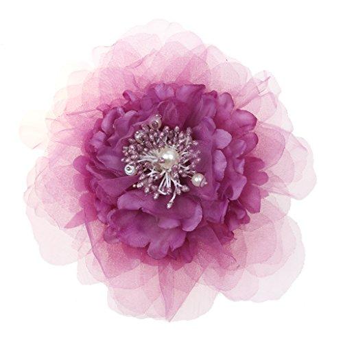 Phenovo Braut Hochzeit Stoffblume Brosche Perle Diamant Hairpin-Schmuck - Lila
