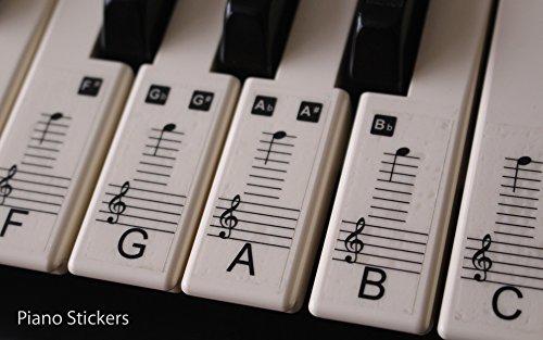 Musik Keyboard oder Piano Aufkleber 88KEY SET lernen, zu spielen Schneller laminiert, klar Kunststoff ps1C 88 (Piano Aufkleber Für Schlüssel)