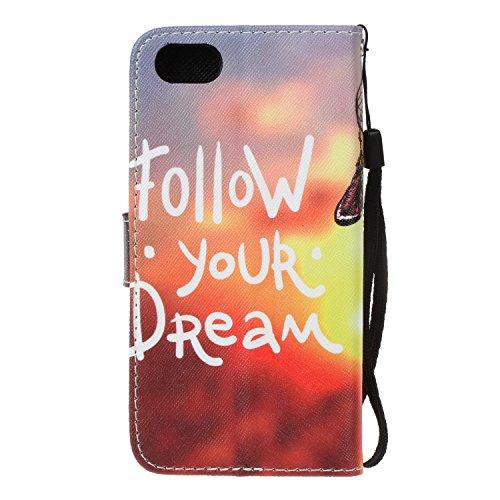 """PU iPhone 7 (4.7 pouces) Coque Bookstyle Étui Fleur Housse en Cuir Case à rabat pour iPhone 7 (4.7"""") Coque de protection Portefeuille TPU Case Cover (+Bouchons de poussière) (5) 10"""