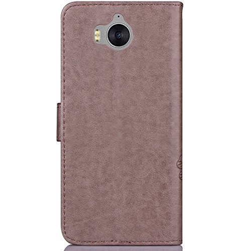 Double Magnetic Back Saugkoffer Horizontale Flip Stand Case Geldbörse Tasche Cover Case [Shockproof] mit Kickstand & Card Slots für Huawei Y5 2017 & Y6 2017 ( Color : Red ) Gray