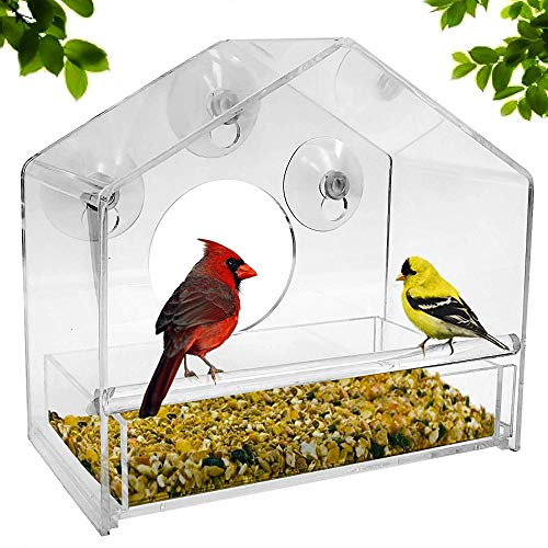 LOTONJT Fenster-Vogelfutterstation von Perspex Vogelhaus Fenster Modernes Vogelfutterhaus