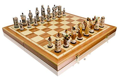 Master of Chess England 56 cm Luxus Marmor Stein Schach-Spiel auf Holz Schachbrett, Mittelalter England / Europa Themen, Klassisches Spiel
