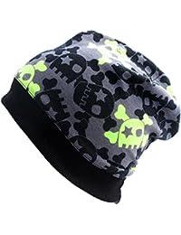 WOLLHUHN ÖKO Beanie-Mütze mit coolen Skulls in grau / grün für Jungen und Mädchen (aus Öko-Stoffen, bio), 20140807