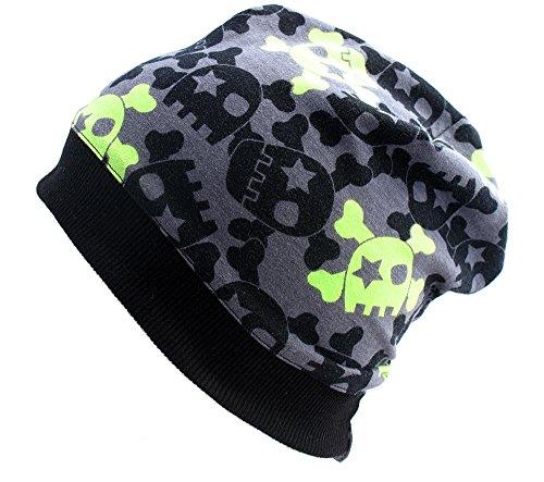 Wollhuhn ÖKO Leichte Beanie-Mütze mit coolen Skulls in grau/grün für Jungen und Mädchen, 20140807, Größe: M