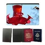 GoGoMobile Muster PU Passdecke Inhaber // M00118634 Kolibri Vogel Futterstation // Universal passport leather cover