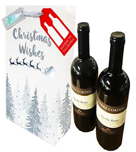 Weihnachtliche Geschenktasche für 2 Flaschen Wein, Spirituosen, Aufschrift: Merry Christmas