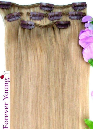 Forever young extension di capelli veri capelli umani, clip a metà testa 40g 40,6cm lunghezza natural blonde # 20