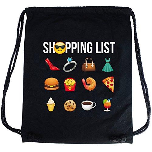 Imagen de premyo bolsa de cuerdas negra 100% algodón con emoji shopping list.  con cuerdas con impresión emoticon en color de alta calidad. gracioso gymsac con cordón. saco de gimnasio ideal para viajar
