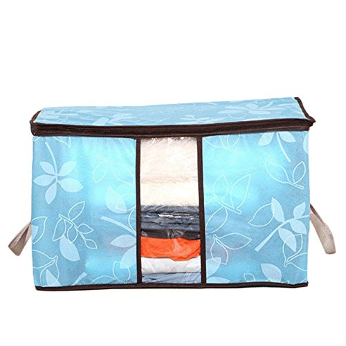 Aufbewahrungsbeutel für Kleidung/Designer Blumen bedruckte Steppdecken Aufbewahrungsbox/Durchsichtbare, zusammenklappbare Unterbodenbeutel Aufbewahrungsmaterial für den Haushalt (Himmelblau)