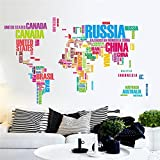Bluelover Colorful World Map Wall Stickers Large English Alphabet Removable Decal