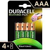 Duracell Recharge Plus AAA - Pila recargable 750 mAh,  4 unidades