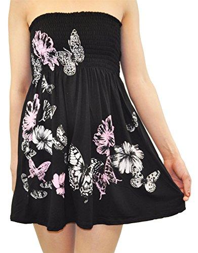 Chocolate Pickle® Nouveau Dames Papillon Floral Décapage Haut Boobtube Floral Mini Tops 36-48 Black