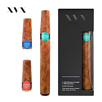 XVX CIGAR \ Electronic Cigarettes \ Rechargeable \ Includes Prefilled Flavour Cartridges \ Cigar \ Cuban \ Havana \ 900 Puffs \ USB Charger & Flavour Changing \ E Cigarette Shisha \ Nicotine Free by XVX