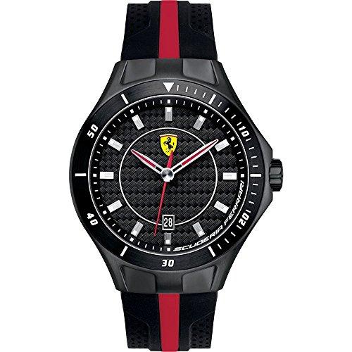 Ferrari - 830079 - Montre Homme - Quartz Analogique - Cadran Noir - Bracelet Silicone Noir
