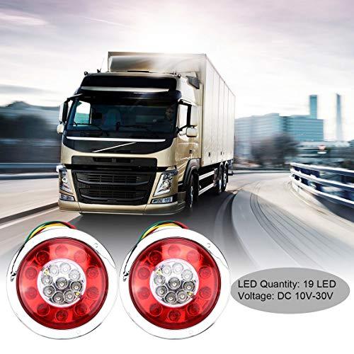 2pc 4,3 pouces 10V-30V 19 LED voiture camion remorque camion arrêt de frein tour tourner lumière lampe anneau chromé étanche antichoc (blanc et rouge)