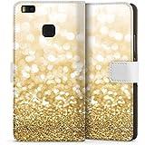 Huawei P9 Lite Flip Tasche Schutz Hülle Walletcase Bookstyle Glitzer Look Staub Gold