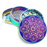 Pilot Diary Grinder Série de Mandala, Aluminium Supérieur Grinder (5cm) 4 Parties Moulin à épices et Grattoir à Poudre (Titane Bleu)