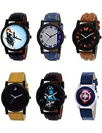 NIKOLA Brand New 3D Design Mahadev Captain America Black Blue And Brown Color 6 Watch Combo (B22-B40-B15-B59-B23...