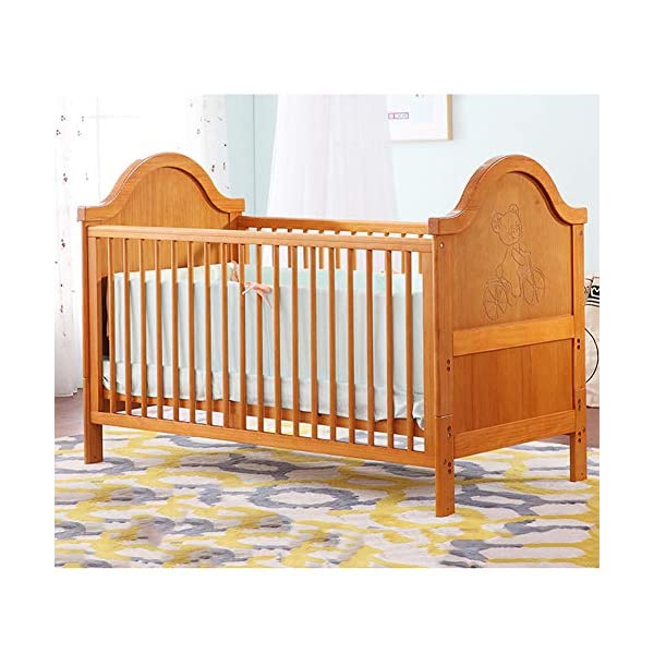 XUNMAIFLB Removable Wooden Baby Cot Bed, Toddler Bed, Solid Wood (inner Diameter: 1400 * 700mm) Multi-functional Crib, Play Bed Safety, Brown, 1460 * 774 * 1148mm XUNMAIFLB Rugged and durable: the wood is durable, oil-free, non-discoloring, and does not crack, increasing the life of the bed. Lockers: Large-capacity lockers, and more baby items can be stored in an orderly manner. It is important to see them easily and to take them easily. Strong load-bearing solid wood bed: widened and thickened skeleton The moon ship coir mattress has a static load of 50kg. 1