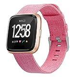 JUZIWEI Für Fitbit Versa socken, Woven Ersetzerband Verstellbares Zubehör Uhrensocken mit Edelstahlschnalle Für Fitbit Versa, 10 Colours,pink,6.7''to8.1''