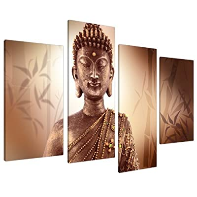 Large Brown Buddha Canvas Pictures Wall Art Prints XL Zen Bamboo 4101