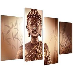 Cuadros en Lienzo Grande Buda Marrón Imagenes XL Bambú Zen 4101