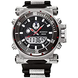 BOAMIGO Luminous Mens Watch with Rotating Bezel and Alarm Quartz Digital 50M Waterproof (Red pin)