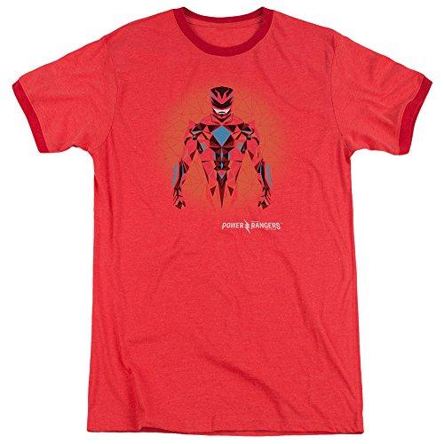 Power Rangers- Prismatic Red Ranger Ringer T-Shirt Gr. L (Power Ranger Tshirt Red)