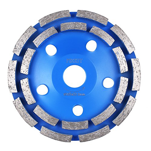 FIXKIT Diamantschleifscheibe, Doppelreihig blau Diamantschleiftopf, 125*22.23mm Schleiftöpfe universal für Beton, Mauerwerk, Marmor, Granit(125mmφ )