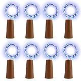 EXQUILEG 10 x 20 LEDs 2M Flaschen-Licht, LED Lichterketten Weinflasche Mini Kupferdraht, Sternenlichter für Flasche DIY, Party, Dekor, Weihnachten, Hochzeit (Blau)