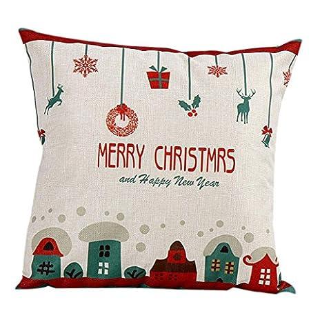WOCACHI Weinlese-Weihnachten Weihnachtsmann-Sofabett-Ausgangsdekor-Kissen-Kasten-Kissen-Abdeckung