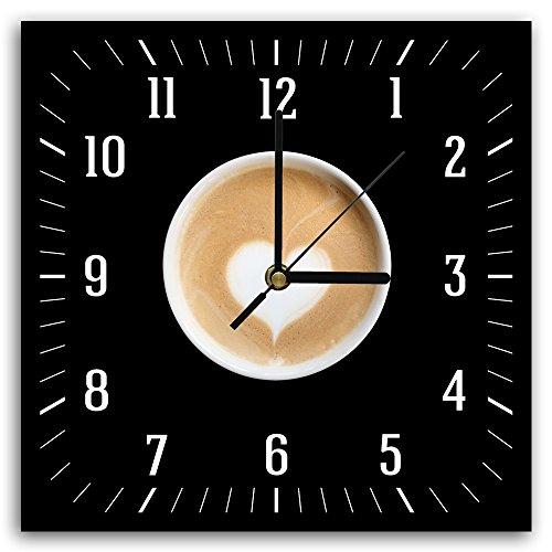 Feeby, Wanduhr, mehrfarbige Deco Panel Bild mit Uhr, 30x30 cm, KAFFEE, HERZ, BRAUN, SCHWARZ