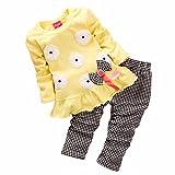 2PCs Camicetta + Pantaloni , feiXIANG Bambini ragazze manica lunga fiore bow shirt plaid Pantalone set abbigliamento, nylon del poliestere (2-3 Anni, giallo)