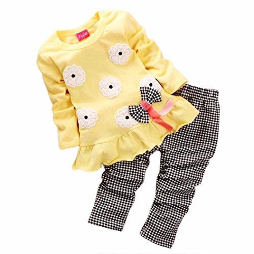2PCs Camicetta + Pantaloni , feiXIANG Bambini ragazze manica lunga fiore bow shirt plaid Pantalone set abbigliamento, nylon del poliestere (3-4 Anni, giallo)
