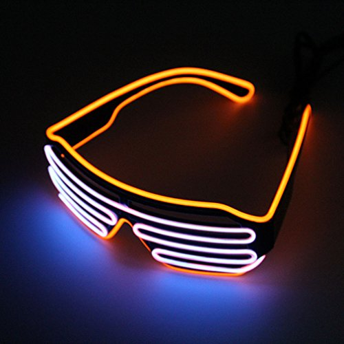 Pretty Smart Glasses Orange & Pink Hot Draht Neon-LED-Light Up Shutter geformte Gläser für Kostüm Party