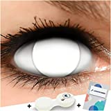 Funzera Lenti a contatto colorate Blind White con portalenti - non corrette, in confezione da due: comode da indossare e ideali per Halloween o Carnevale