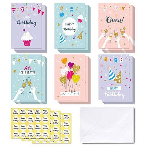 48 Tarjeta de felicitación, Ohuhu Tarjeta doblada para niños, Notas de felicitación...